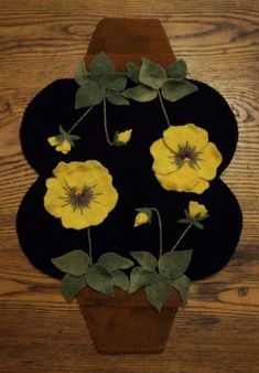 Clay Pot Pansies Wool Penny Rug Candle Mat E-Pattern $6.50