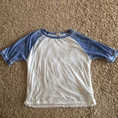 Forever21 Blue and cream baseball tee Super soft. Sleeves are less than a quarter sleeve. It's not a crop top but it is shorter than a regular top Forever 21 Tops Tees - Short Sleeve