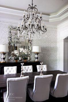 Paloma Contreras Design | Dining Room | Farrow & Ball Silvergate Wallpaper | Venetian Mirror | Mercury Glass Hurricane Lamps | Ralph Lauren Adrianna Chandelier | Tufted Velvet Chairs