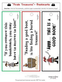 Printable Pirate Themed Bookmarks