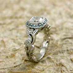 0.92ct Diamond Leaf Vine Platinum Engagement Ring with Teal Turquoise Blue Diamonds in Halo and Milgrain Antiquing. $6,020.00, via Etsy.