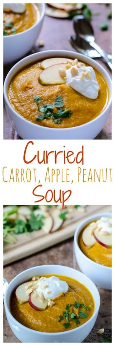 You'll flip for the warm flavor of this Curried Carrot Apple and Peanut Soup. Easy, healthy, and great leftover too!