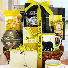 """"""" Bee Well"""" $87.95   Found in my Get Well & Personalized Ribbon Gift Baskets categories. Make someone you care about smile when they receive this delightful basket with it's adorable Bees & Bears printed mug, napkin and comforting gourmet snacks!"""