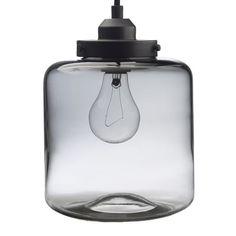 Glass Jar Pendant, Short, Gray
