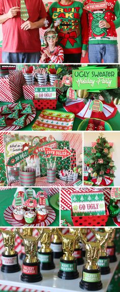 15 Simple Ideas for DIY Christmas Party: Christmas Party Table Christmas Party Table, Office Holiday Party, Holiday Parties, Holiday Party Themes, Couple Christmas, Christmas Sweaters, Christmas Crafts, Christmas Holiday, Holiday Fun