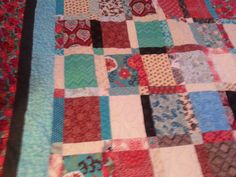 large red and turquoise queen size quilt by 4quiltsandmore on Etsy, $199.00