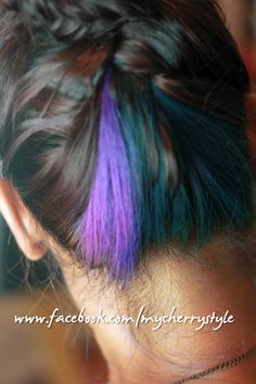 peacock inspired hair colour - so glad it worked! Teal + purple + blue hair