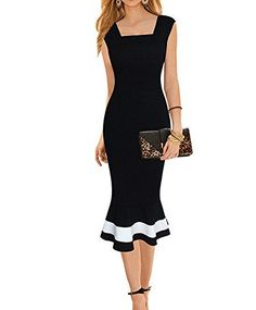 LUNAJANY Womens Vintage Midi Sheath Business Causal Office Party Wiggle Dress ** You can find out more details at the link of the image.