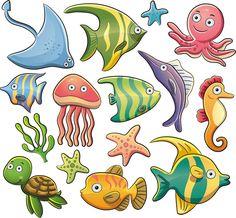 Illustration of Sea Animals Collection vector art, clipart and stock vectors. Comic, Animal Decor, Marine Life, Sea Creatures, Cute Cartoon, Clipart, Vector Art, Images, Scrapbook