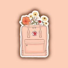 Fjallraven Kanken Floral Backpack Sticker – Phone case for girls Tumblr Stickers, Phone Stickers, Journal Stickers, Cool Stickers, Fjallraven, Homemade Stickers, Floral Backpack, Red Bubble Stickers, Vsco