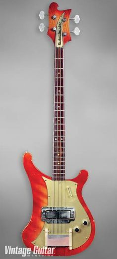 "Rickenbacker's first electric bass, the 4000 debuted in 1959, boasting sustain-enhancing neck-through construction and with the famous ""cresting wave"" horn on the upper bass bout."