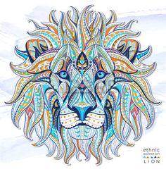 katze tattoo: Gemusterte Kopf des Löwen auf der Grunge Hintergrund. African indisches totem Tattoo-Design. Es kann für die Gestaltung von einem T-Shirt, Tasche, Postkarte, einem Poster und so weiter verwendet werden.