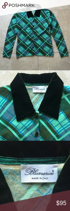 "Blumarine plaid knit sweater Stunning, super soft, authentic plaid Blumarine button up sweater. Dark green velvet collar and buttons. Gorgeous colors. 95% wool 5% nylon. Nice preowned condition, but as shown in last pic there are two TINY pinpoint sized spots that are literally unnoticeable when worn, but may want to dry clean because of it. Amazing deal, so price is pretty firm although I consider fair offers. Length 22"", pit to pit 18/19"". Italian size 40. Blumarine Sweaters Cardigans"
