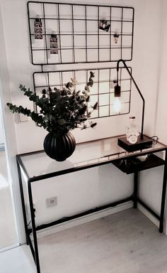 Vittsjö Desk - Ikea On the wall: Brusali - Ikea Lamp .- Vittsjö Schreibtisch – Ikea An der Wand: Brusali – Ikea Lampensockel und Glühb Vittsjö desk – Ikea On the wall: Brusali – Ikea lamp base and light bulb – H … - Home Interior Design, Interior Decorating, Ikea Vittsjo, Ikea Desk, Ikea Laptop Table, House Rooms, Apartment Living, Living Room, Bedroom Decor