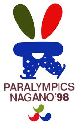 1998 Nagano Paralympics Primary Logo (1998) - A blue, red and green skiier