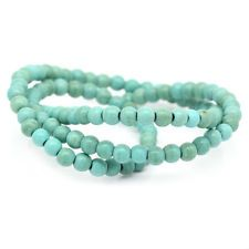"2 Strands 16"" Turquoise Round Beads Jewellery Making 4mm Dia."