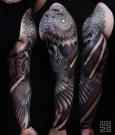 Raven Tattoo Sleeve Ornament Best Tattoo Ideas Gallery sleeve tattoo - Tattoos And Body Art Get A Tattoo, Arm Tattoo, Body Art Tattoos, New Tattoos, Tribal Tattoos, Tattoos For Guys, Cool Tattoos, Maori Tattoos, Batman Tattoo Sleeve