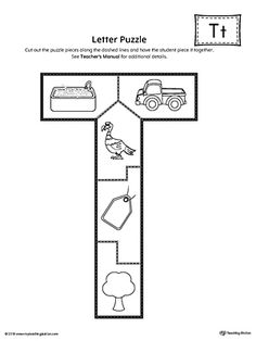 Letter T Puzzle Printable Worksheet.The Letter T Puzzle is perfect for helping students practice recognizing the shape of the letter T, and it's beginning sound, along with developing fine-motor skills. Letter T Crafts, Letter T Activities, Letter T Worksheets, Preschool Letters, Preschool Learning Activities, Preschool Books, Preschool Printables, Preschool Worksheets, Preschool Ideas