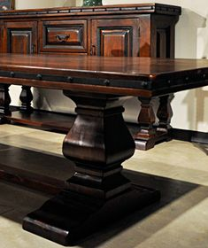 Mancini dining room furniture is highly popular due to its rugged personality, its traditional Hacienda style, its solid wood construction and its over sized design that compliments today's Mediterranean inspired architecture. See it at accentsofsalado.com ❥Accents of Salado Furniture Store.