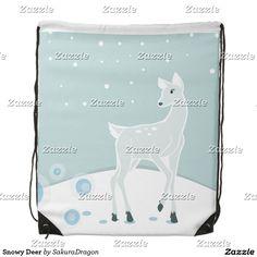 Snowy Deer Drawstring Backpack #christmas #deer #winter #animals #holidays