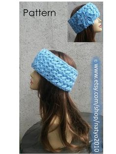 INSTANT DOWNLOAD Blue Braids Earwarmer Headband with by natyo2010, $4.00