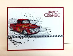 Stamps: Gorgeous grunge, classic pickups  Paper: Real red, white  Ink: Real red, black  Accessories: Twine, pop up dots, glitter pen