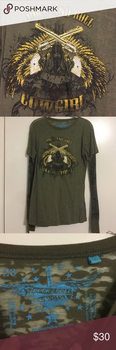 """Army green burn out long sleeve top Army green burn out long sleeve top- """"Rock and Roll Cowgirl"""" screen print- sparkles on the guns and camo thermal material sleeves- super cute with jeans!! Rock & Roll Cowgirl Tops Tees - Long Sleeve"""