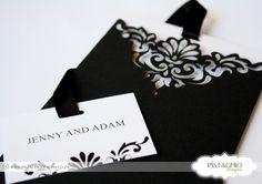 Wedding Invitation in Elegant Black Elegant Invitations, Wedding Invitations, Pistachio, Wedding Dresses, Day, Black, Design, Pistachios, Bride Dresses