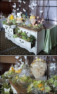 Vintage dresser as a table at the reception. LOVE this repurposing!