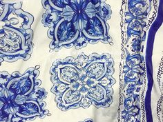 2016 NEW Collection High-end Vintage Brand Chiffon fabric blue white Majolica digital printing fabric for clothing DIY