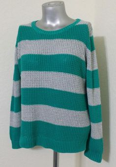 ANA Womens Teal Green Gray Stripe Knit Long sleeve Sweater Top Size XL  #ana #Crewneck