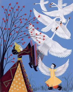 WILD SWANS. Story by H.C. Andersen. Illustration by Charlotte GASTAUT.