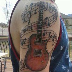 Guitar Tattoo Design on Hand