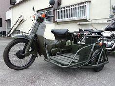 Honda Cub, Honda Motorcycles, Vintage Motorcycles, Scooters, Bike With Sidecar, Three Wheel Bicycle, Custom Motorcycle Builders, Bike Cart, Retro Bike