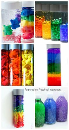 Amazing Rainbow Sensory and Discovery Bottles – Preschool Inspirations Amazing Sensory and Rainbow Discovery Bottles Rainbow Activities, Sensory Activities, Sensory Play, Learning Activities, Preschool Activities, Sensory Rooms, Baby Sensory, Toddler Learning, Infant Activities