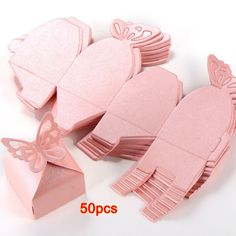 7.06AUD - 50Pcs Butterfly Boite A Dragees Wedding Decoration Baptism Birth Rose Sh #ebay #Home & Garden