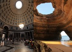 photoshop combination of the Pantheon in Rome with the famous image of the Benagil Cave in Algarve, Portugal.