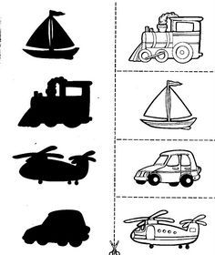 Crafts,Actvities and Worksheets for Preschool,Toddler and Kindergarten.Lots of worksheets and coloring pages. Fun Activities For Toddlers, Preschool Learning Activities, Kindergarten Worksheets, Worksheets For Kids, Infant Activities, Preschool Activities, Matching Worksheets, Motor Activities, Transportation Theme Preschool