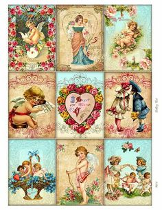 VICTORIAN VALENTINE Digital Collage Sheet Instant by GalleryCat