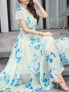 & & Sommer V-Ausschnitt Floral Bedruckte Chiffon Maxi-Kleid Vestidos Chiffon, Chiffon Dress Long, Ladies Dress Design, Boho Dress, Plus Size Dresses, Designer Dresses, Fashion Dresses, Dresses Dresses, Long Maxi Dresses