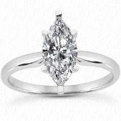 Solitaire engagement ring with marquise cut diamond