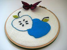 Apple Hoop Art / Wall Wear - hand embroidered pure wool felt in 6 inch wood hoop.  Aqua Blue