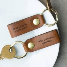 Leather Coordinate Keyring | Create Gift Love £24  This beautiful set of personalised leather co-ordinate keyrings are the ideal gift for a wedding anniversary, Valentine's Day or just as a thoughtful gift for any occasion.  http://www.creategiftlove.co.uk/collections/personalised-keyrings/products/personalised-leather-coordinate-keyring-set  #keyrings #personalised #creategiftlove