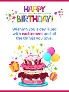 Send Free Festive Cake & Presents – Happy Birthday Card to Loved Ones on Birthday & Greeting Cards by Davia. It's free, and you also can use your own customized birthday calendar and birthday reminders. Happy Birthday Bestie, Birthday Wishes For Girlfriend, Happy Birthday Wishes Cards, Happy Birthday Quotes, Birthday Greeting Cards, Birthday Greetings, Boss Birthday, Birthday Sayings, Birthday Stuff