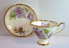 Vintage TAYLOR & KENT Footed TEA CUP & SAUCER PURPLE FLOWERS English Bone China