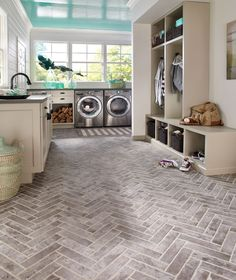 Material we're loving: Brick-look tile. It's so much more achievable to add this rustic look to a mudroom, bathroom, kitchen… anywhere. Think beyond the floor - this tile is also great on the wall.