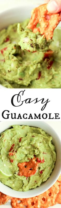 This Easy Guacamole is fresh and a perfect recipe for Spring and Summer. A simple recipe with red onions, fresh chopped tomatoes and a spritz of lime, enjoy it for any gathering, game day or a quick snack for yourself! http://www.lifeslittlesweets.com