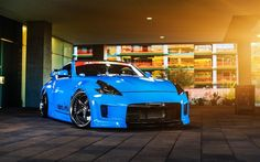 Nissan 370Z, low rider, tuning, japanese cars, blue 370z, stance, Nissan