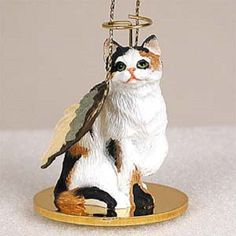 Shorthaired Calico Cat Angel Ornament