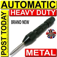 BLACK METAL AUTOMATIC CENTRE PUNCH ★NO HAMMER NEEDED★ Wood/Metal/Press/Dent NEW   eBay - £3.99